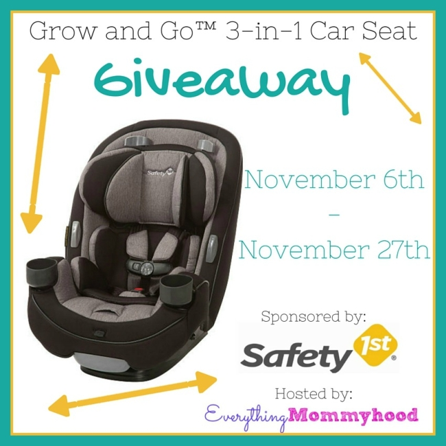 Grow and Go Giveaway- 3 in 1 Car Seat.
